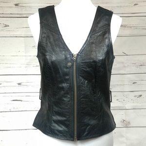 Harley Davidson Leather Vest Retro EUC size S